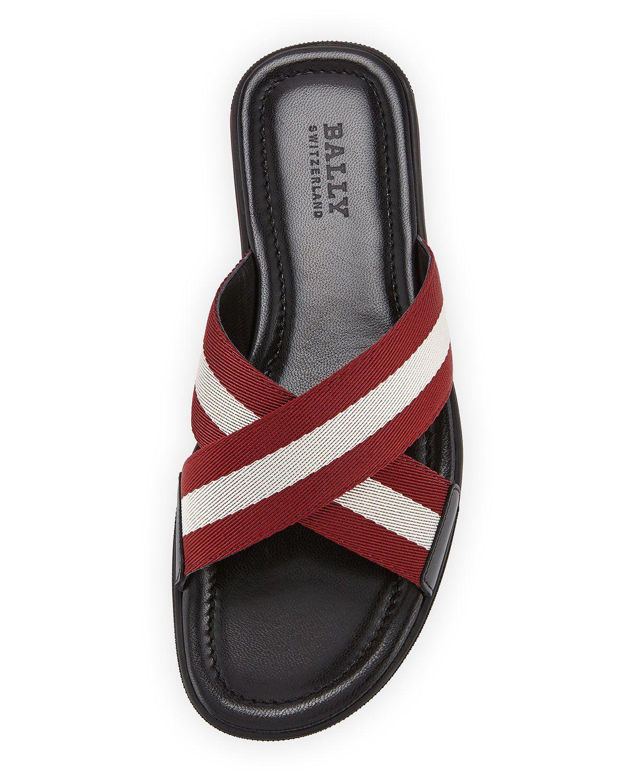 11061363d2e2 Bally Bonks Men s Trainspotting-Stripe Fabric Slide Sandal