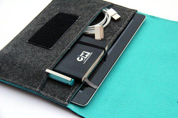 iPad Sleeve / iPad Case / iPad Cover / iPad Organizer - Dark Gray  Turquoise  - Weird.Old.Snail