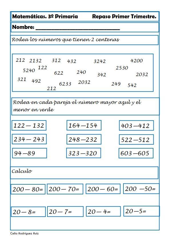 Fichas de matemáticas para Tercero de Primaria | ideas para material ...