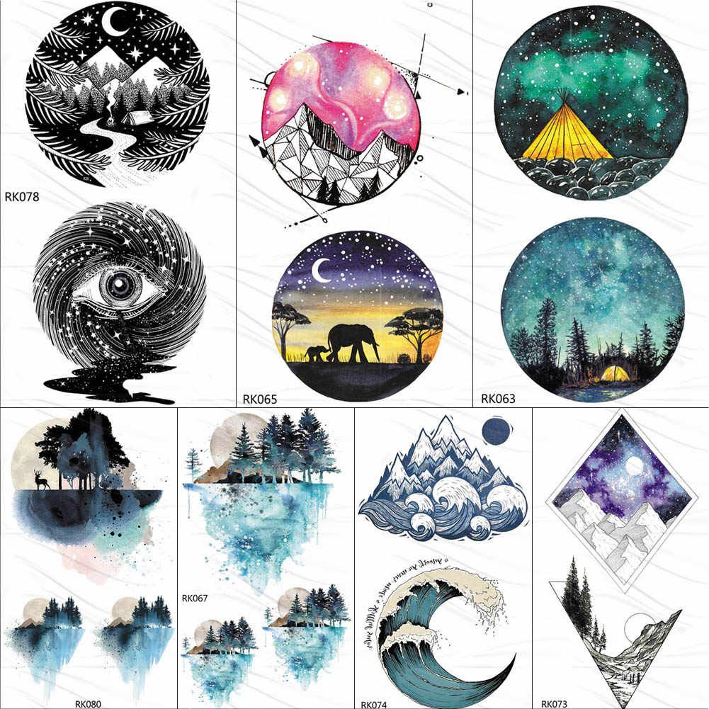 Photo of OMMGO Watercolor Geometric Moutain Camping Temporary Tattoos For Kids Sticker Surf Wave Forest Tattoo Body Art Arm Fake Tatoos| |   – AliExpress
