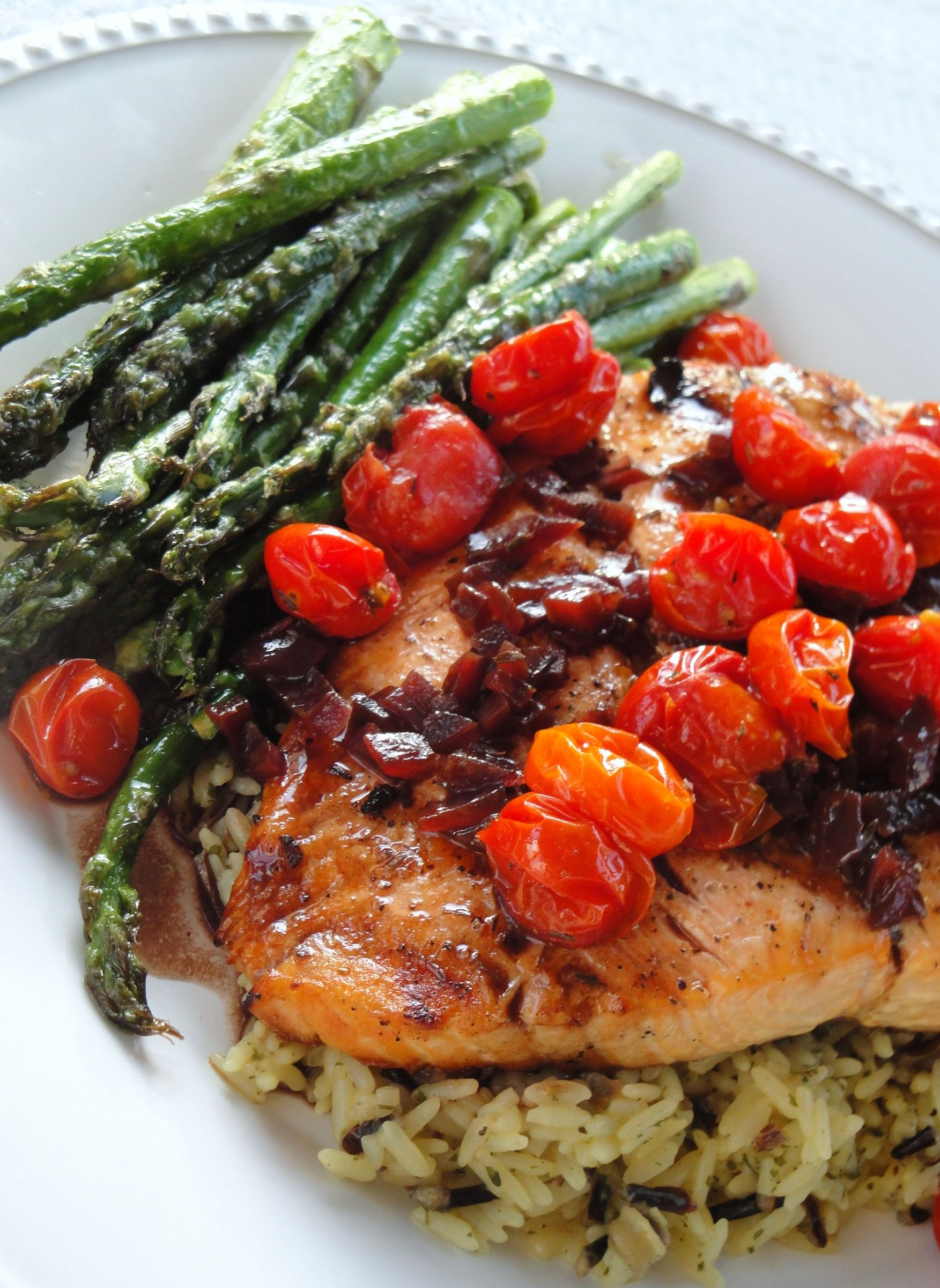 Balsamic Red Wine Salmon W Roasted Grape Tomatoes Asperagus Seafood Recipes Healthy Recipes Roasted Grape Tomatoes