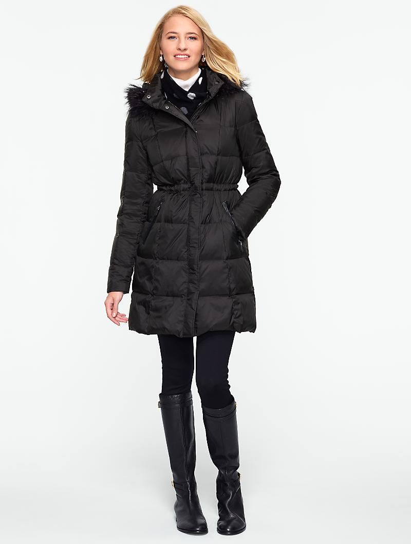 Talbots Long Puffer Coat With Fur Trimmed Pockets Coats And Outerwear Puffer Coat With Fur Long Puffer Coat Clothes [ 1057 x 800 Pixel ]