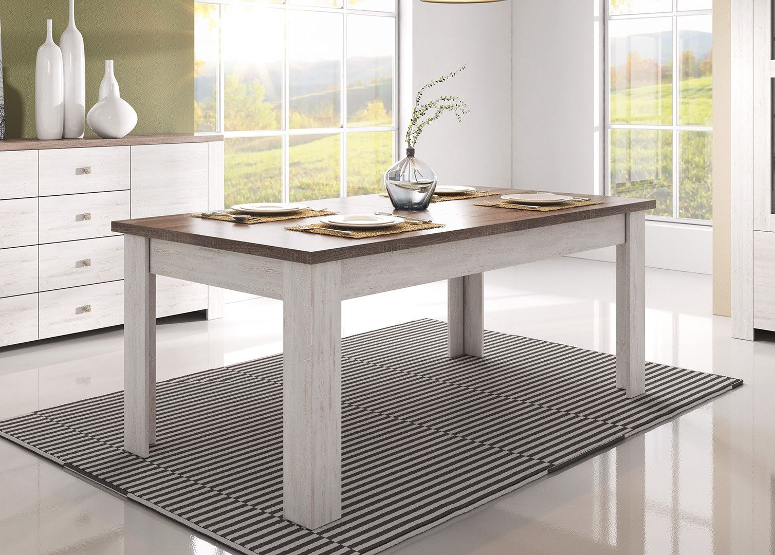 Table A Manger Style Campagne Chene Blanchi Marron Atlanta Matelpro Table Salle A Manger Table A Manger Table A Manger Pas Cher