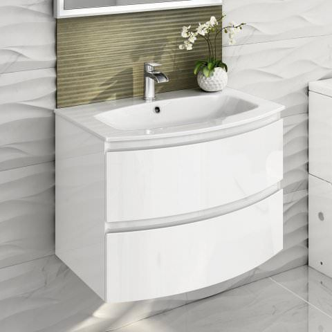 700mm Amelie High Gloss White Curved Vanity Unit Wall Hung Wall Hung Vanity Small Bathroom Furniture Vanity Units