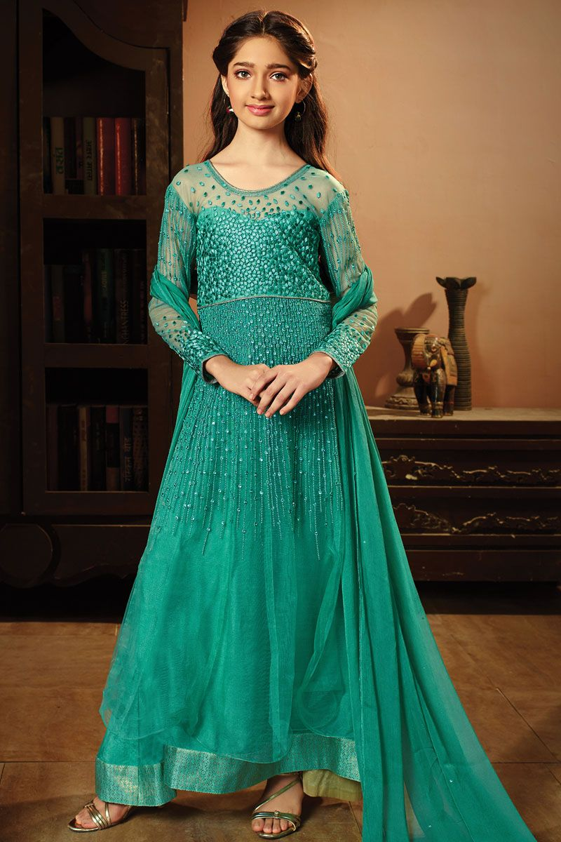 Blue Designer Net & Fancy Fabric Heavy Embroidered Traditional ...