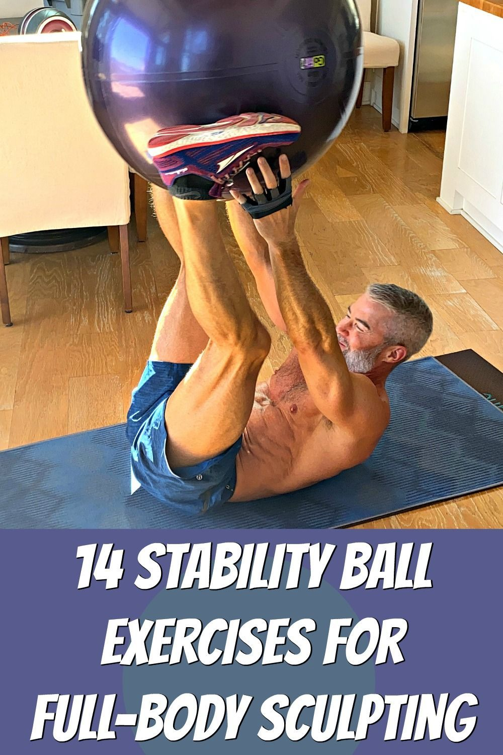 Click-through for 14 fun stability ball exercises that can sculpt your entire body. A complete worko...
