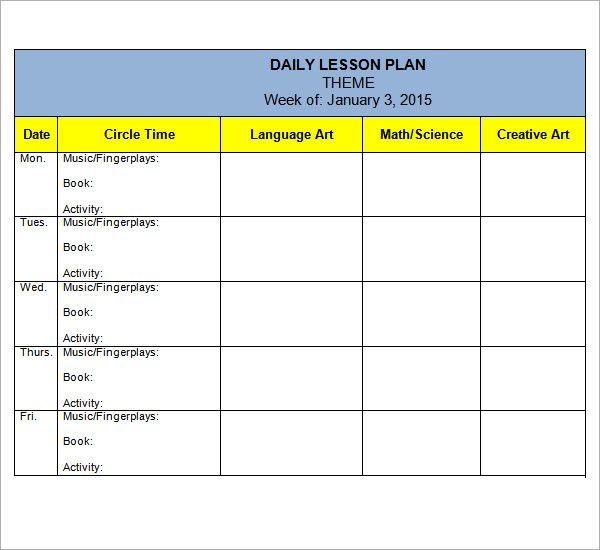 Preschool Lesson Plan Themes  Free Lesson Plan Format