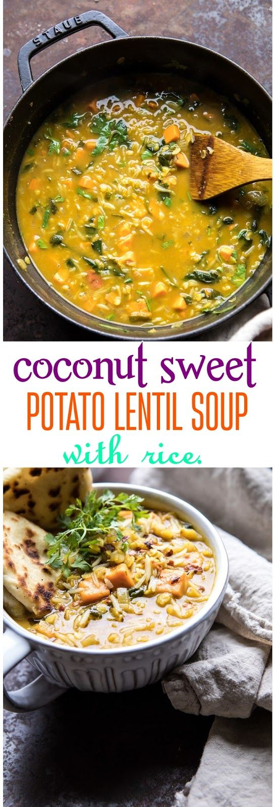 coconut sweet potato lentil soup with rice. (With images ...
