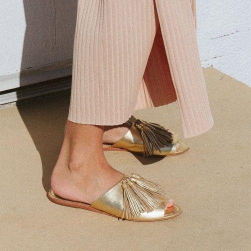 Fall/Winter Loeffler Randall Kiki Metallic Tassel Slide Sandals womens Gold Loeffler Randall Womens Loeffler Randall