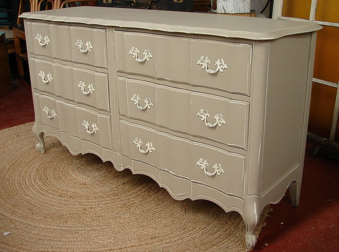 Distressed Vintage Reclaimed French Provential 6 Dr Mud Putty Gray Paint Dresser Chest Of Drawers Call Furniture Makeover Gray Painted Dressers Redo Furniture [ 844 x 1136 Pixel ]
