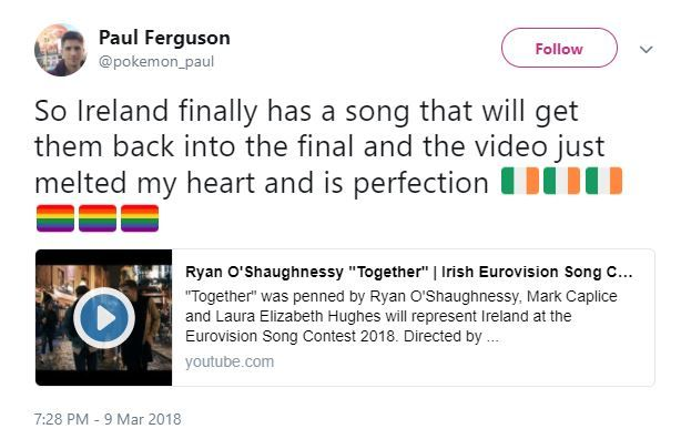 Ireland's Eurovision 2018 Song Contest entry features moving same