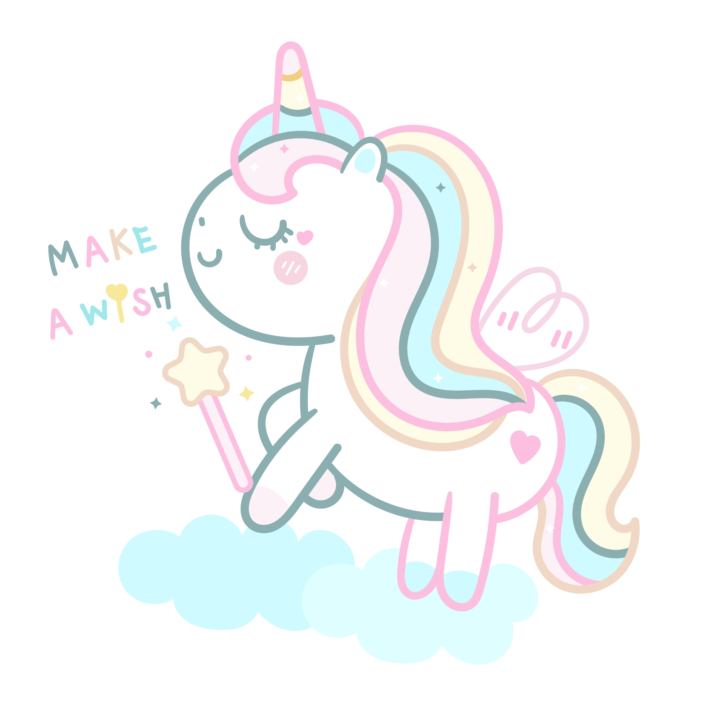 Cute Unicorn Vector With Magic Wand And Cloud Pony Cartoon Pastel Color Kawaii Animal Unicorn Wallpaper Unicorns Vector Cute Unicorn