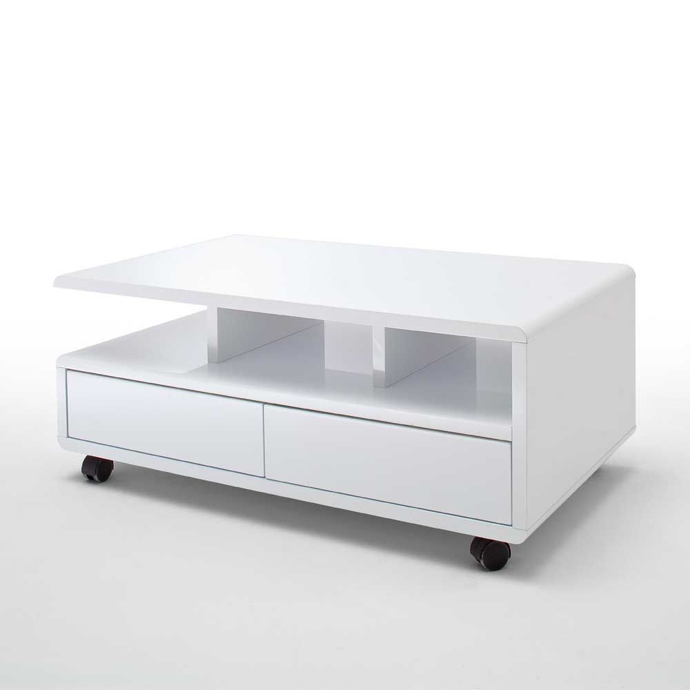 Abbey Coffee Table High Gloss White With 2 Pull Out Drawers: Couchtisch, Couchtische, Tisch