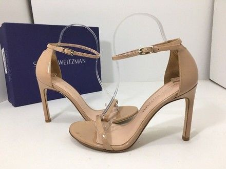 d39f6a0381ff Stuart Weitzman Adobe Aniline Patent Leather Nudistsong Women s High Nude W Sandals  Size US 7 Wide