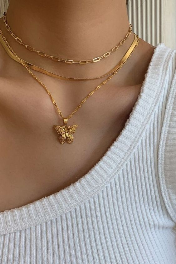 Pin by Chiara on bling in 2020   Butterfly necklace gold