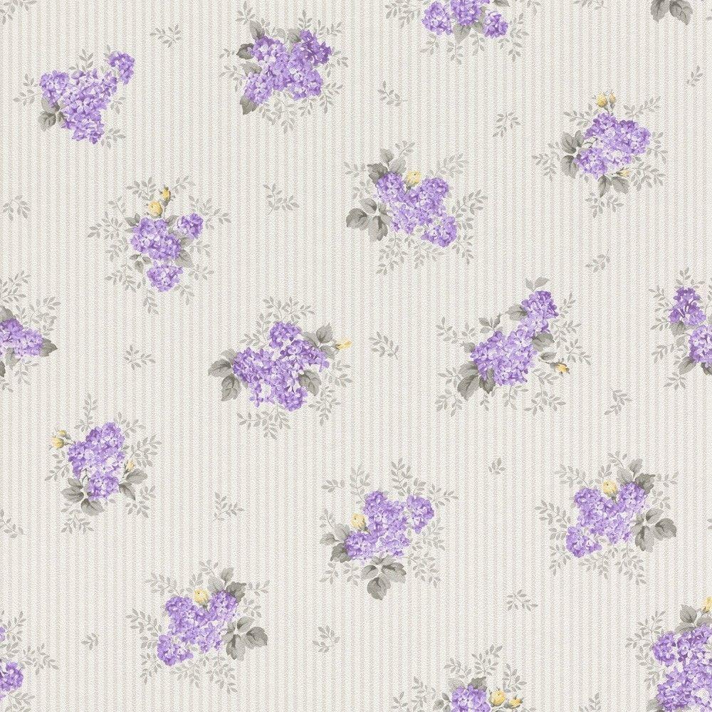 Vliestapete Rasch Textil Streifen Blumen Lila Silber Glanz 288932 3