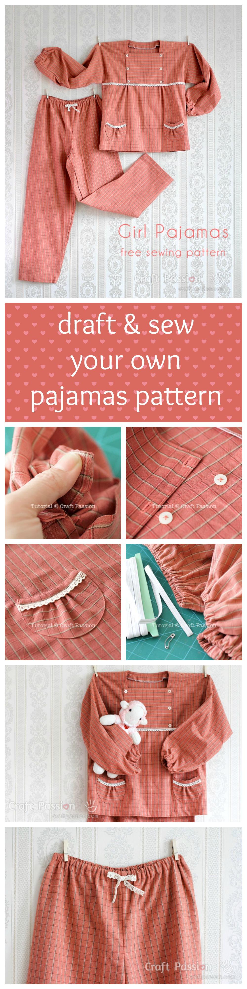Girl Pajamas - 5 to 12 years old - Free Sewing Pattern | Costura