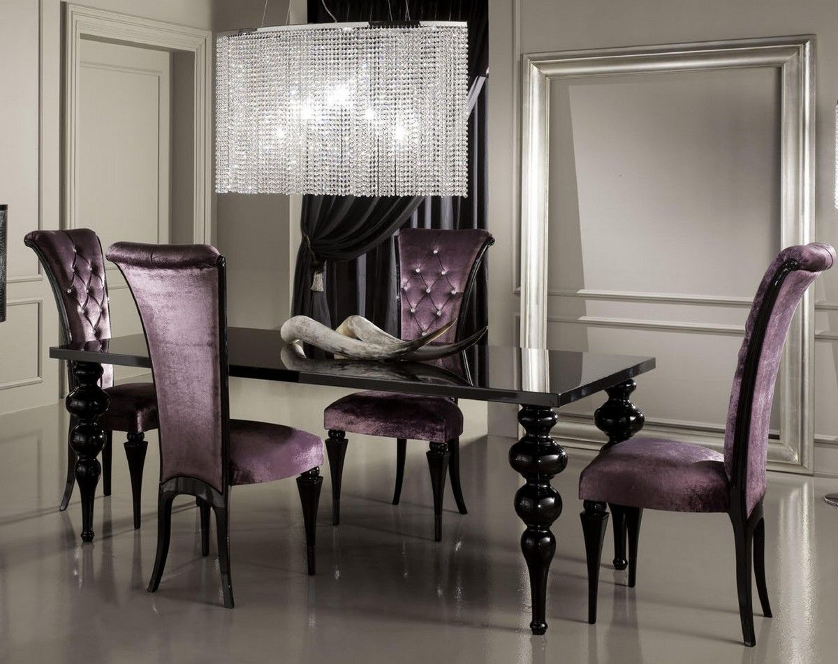 Black Lacquered Dining Table Zimmer Esszimmer Essen