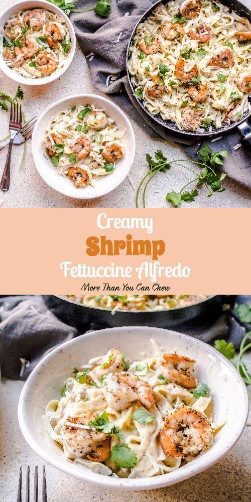 Creamy Shrimp Fettuccine Alfredo #shrimpfettuccine Shrimp Fettuccine Alfredo #sh... #shrimpfettuccine