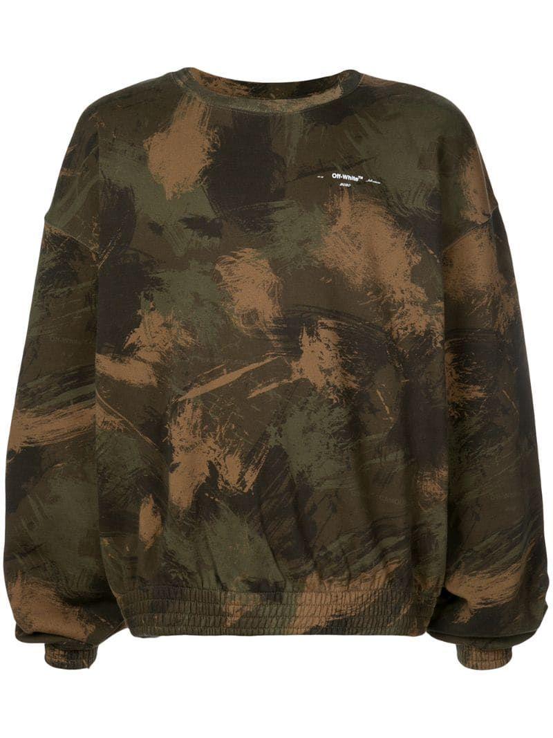 Off White Camouflage Logo Sweatshirt Farfetch Printed Sweatshirts Mens Outfits Sweatshirts [ 1067 x 800 Pixel ]