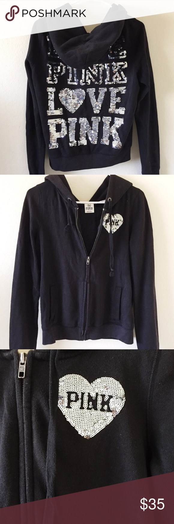Pink Victoria's Secret Full-zip hoodie 🖤 Love Pink black with ...