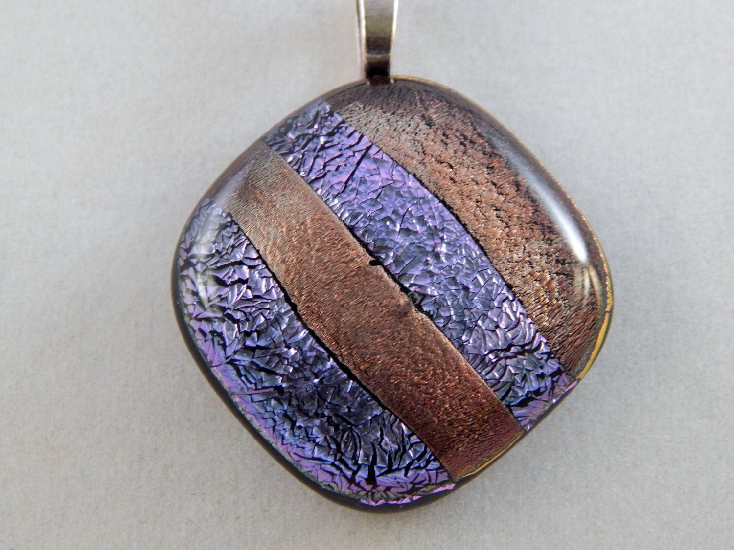 Lavender and Gold Glass Pendant by ZacInTheBoxCreations on Etsy