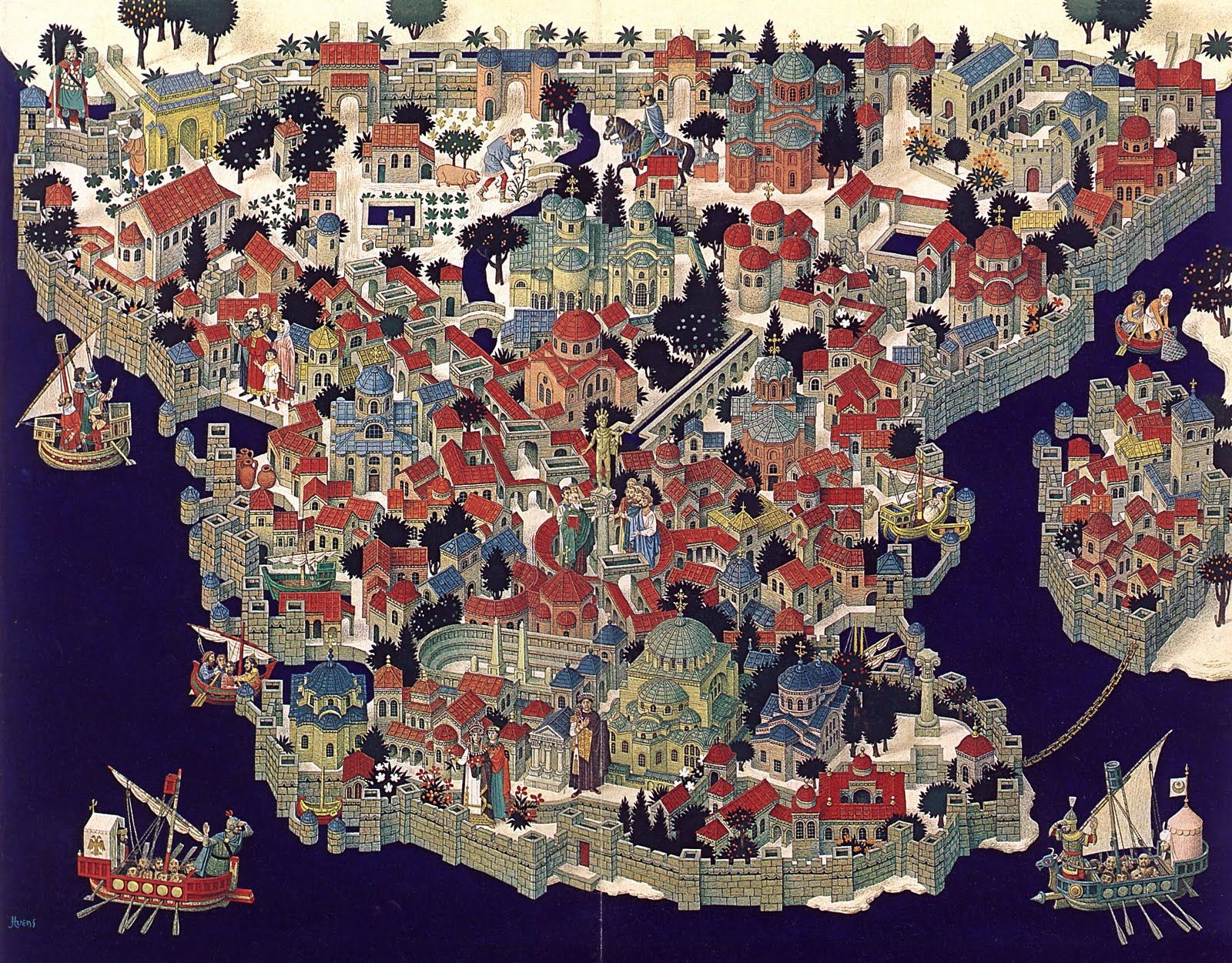 Illustrated map of Constantinople Illustrated map of