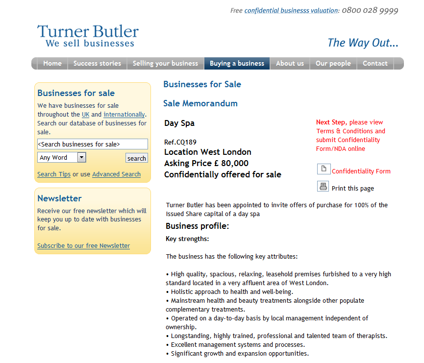 Business for sale : Day Spa Ref.CQ189 Location West London Asking Price £ 80,000 Rupert Cattell sell your business Turner Butler Rupert Cattell TurnerButler Rupert Cattell we sell business Rupert Cattell Businesses for sale Turner Butler Rupert Cattell Turner Butler Testimonial Rupert Cattell Rupert Cattell Successful Business Broker