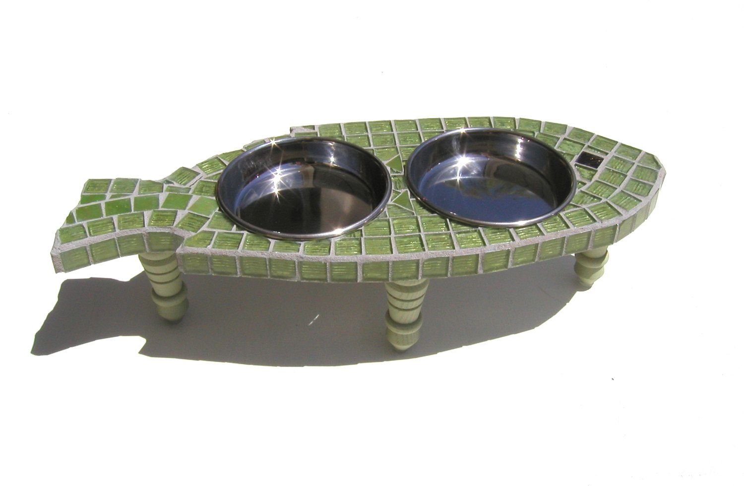cat with elevated feeder glass bowls itm ebay