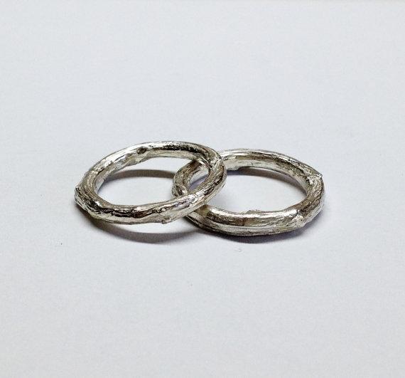 Silver twig ring wedding ringsbranch tree bark rings twig
