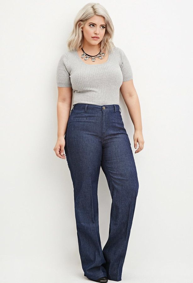 Plus Size Wide-Leg Denim Pants | Plus Size Fashion | Pinterest ...