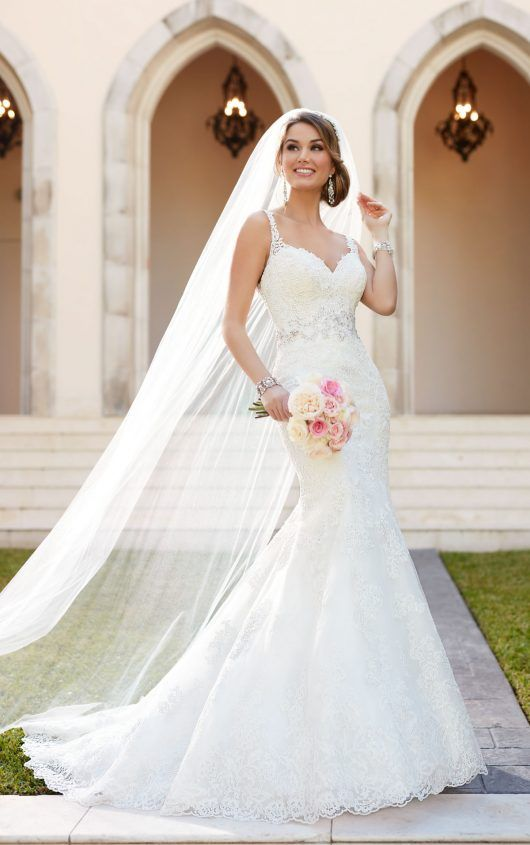 fit and flare wedding dress with embroidered lace - stella york en