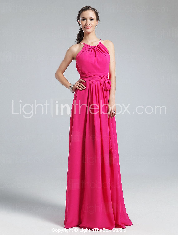 Sheath / Column Jewel Neck Floor Length Chiffon Bridesmaid Dress ...
