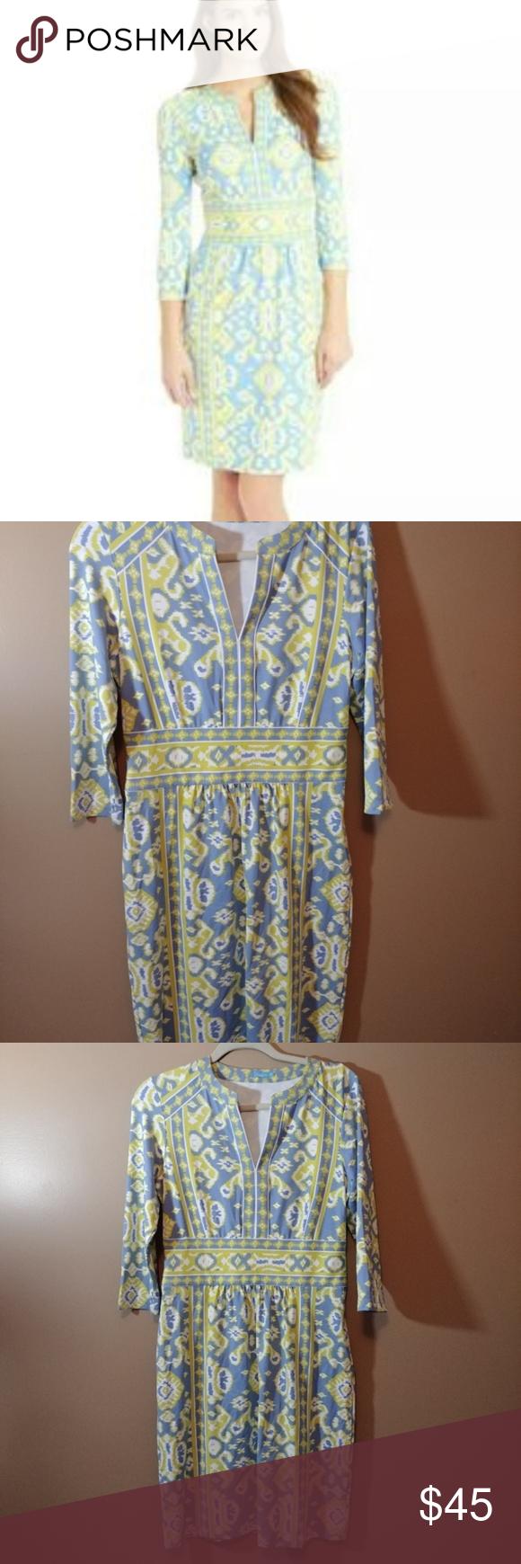 J Mclaughlin Lola Ikat Blue Yellow Dress Sz M Blue And Yellow Dress Yellow Dress Dresses [ 1740 x 580 Pixel ]