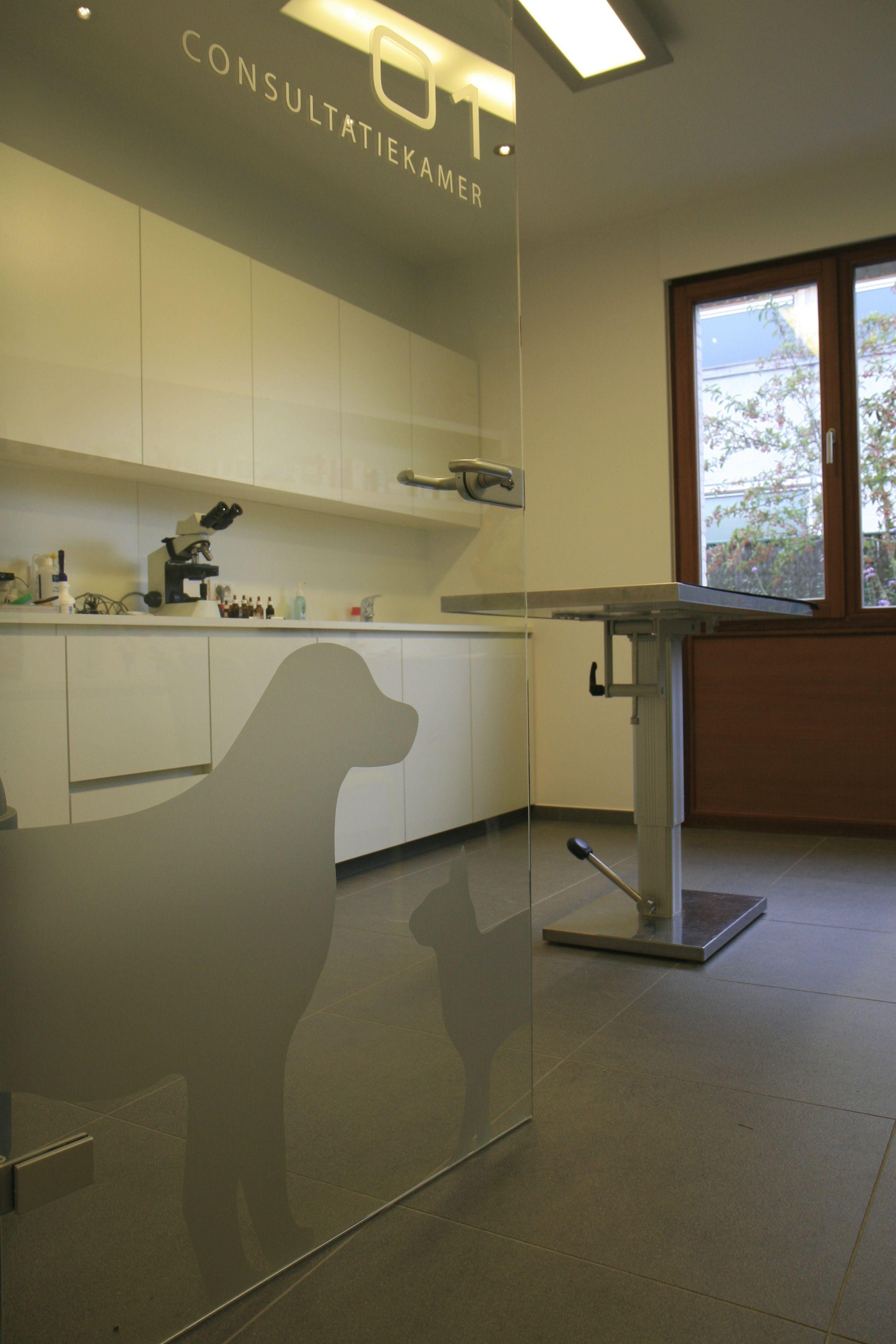 inkom praktijk glazen deur met belettering Interieur