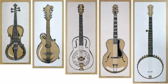 Fiddle, mandolin, resonator, guitar and banjo prints from Yeehaw industries