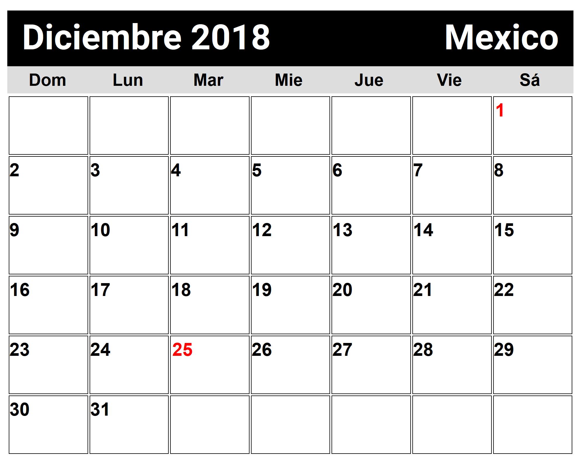 Calendario Diciembre 2018 Con Festivos.Calendario Diciembre 2018 Chile Calendario Diciembre 2018