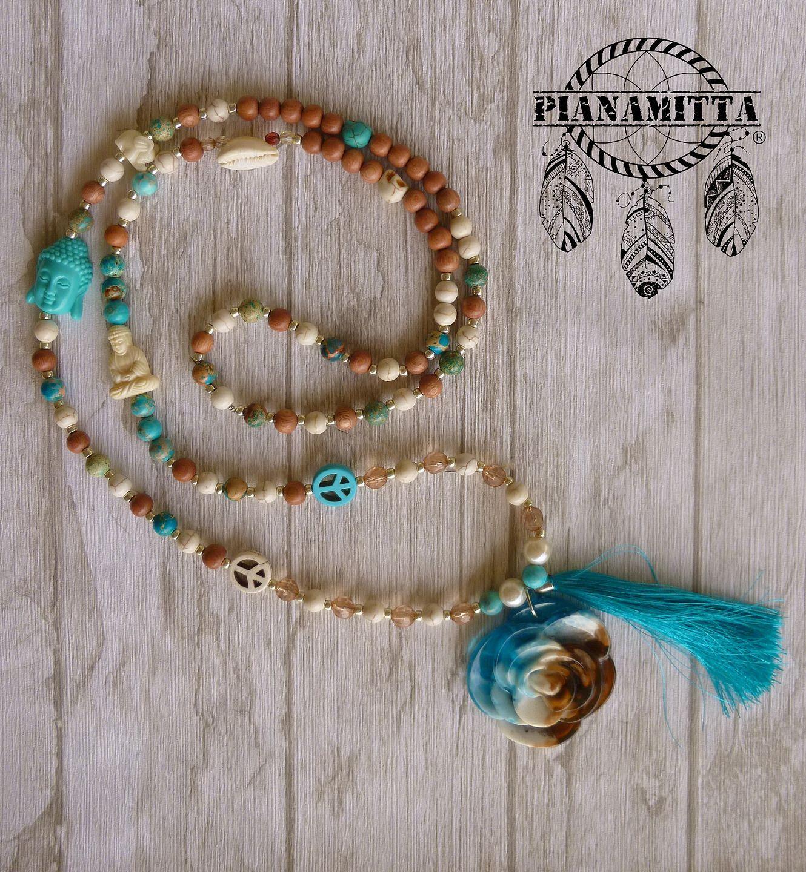 sautoir hippie boho boheme buddha fleur bleu blanc rose perle en bois de rose perle sea. Black Bedroom Furniture Sets. Home Design Ideas