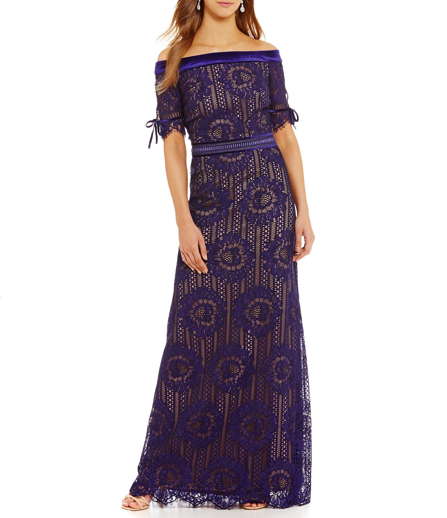 250b02f658 Tadashi Shoji Off-the-Shoulder Lace Gown  Dillards