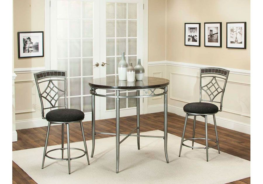 Morenci 3 Pc Marblemetal Counter Height Dining Room  Badcock Entrancing Badcock Furniture Dining Room Sets Inspiration