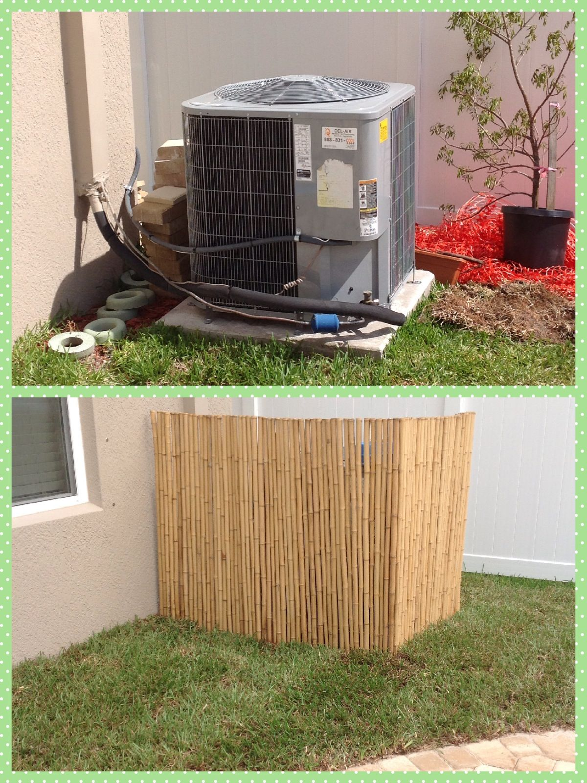 Air conditioner cover bamboo Backyard decor, Air