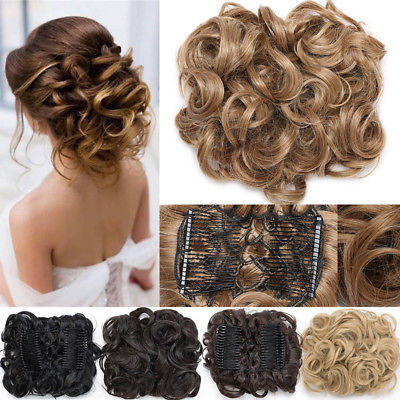 Large Thick Curly Scrunchie Combs Messy Bun Updo Clip In Hair Piece Extensions Ebay Clip In Hair Pieces Curly Hair Pieces Bun Hair Piece