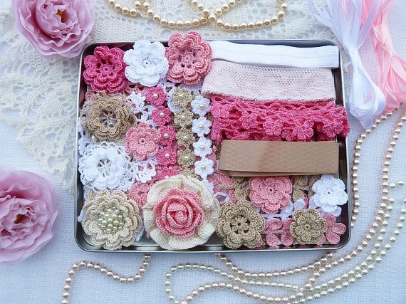 kit crochet elements for scrapbooking and sewing/crochet lace trim/crochet doilies/crochet flowers #crochetelements