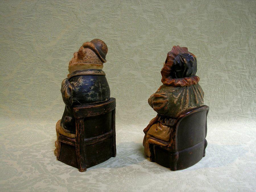 Изысканные пара австрийской терракотовой антропоморфные табака баночках c.1880