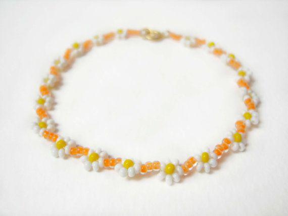 Neon Orange Bracelet Daisy Chain Bracelet by JewelleryByJora
