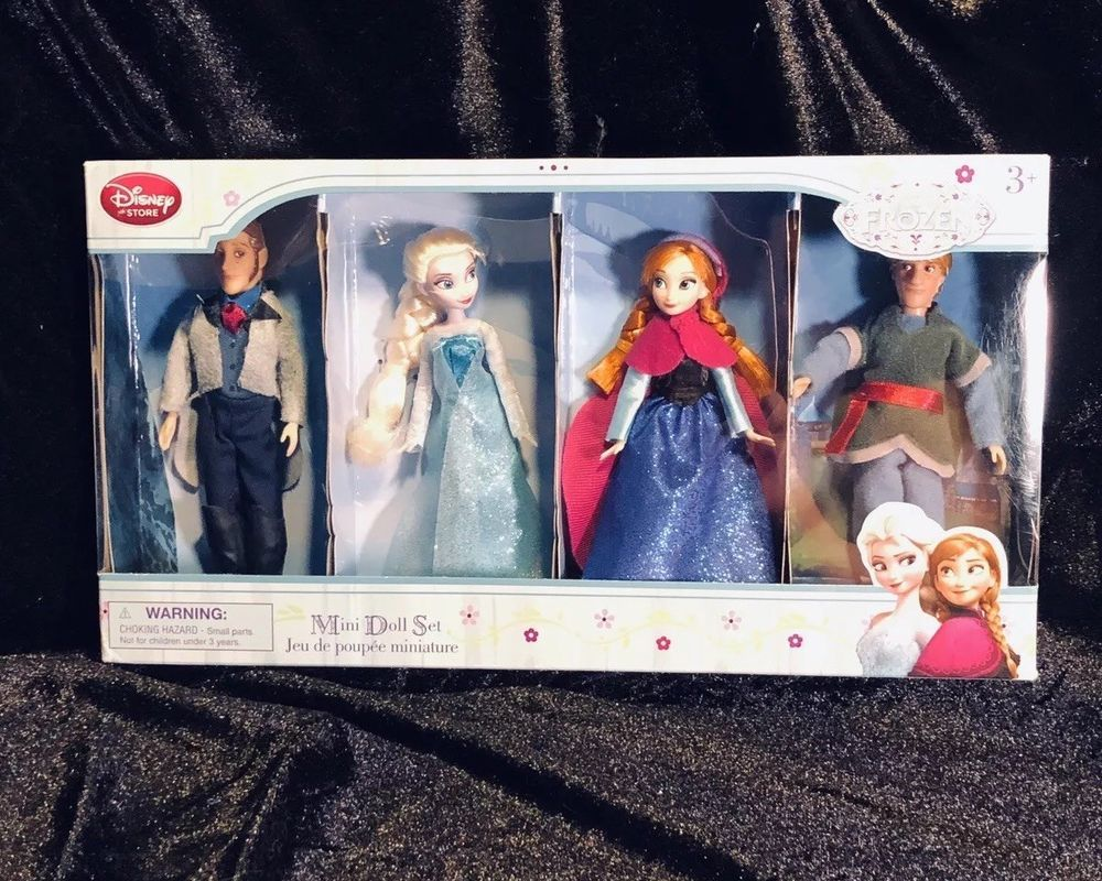 "New Disney Store Frozen Elsa Anna Hans Kristoff Mini Princess 4 Pc Doll Set 5/"""