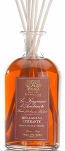 Antica Farmacista Pomegranate & Currant Diffuser 8.5floz by Antica Farmacista. $62.00. Antica Farmacista Pomegranate & Currant Home Ambiance Perfume Diffuser 8.5 fl oz has the fragrance of pomegranate blended with black currant and orange to make the perfect fragrance balance of spice, citrus, warmth and richness. The Antica Farmacista perfume diffusers will infuse the air and provide a lasting, constant and beautiful scent throughout your home.