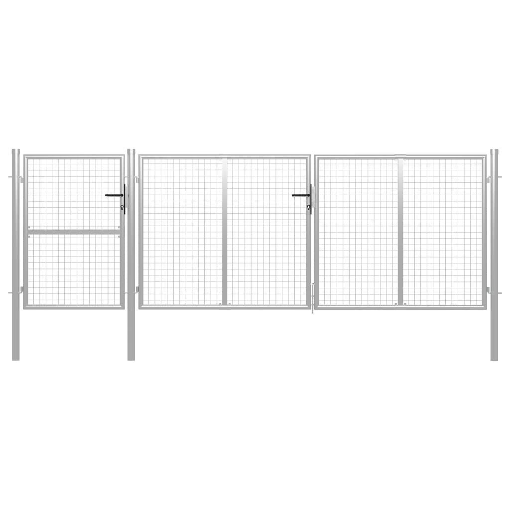 vidaXL garden gate steel 400 x 125 cm silver