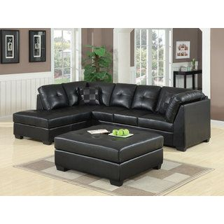 Coaster Darie Leather Sectional Sofa With Ottoman In Black *** To View  Further For This Item, Visit The Image Link.
