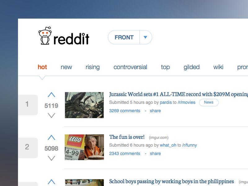 Reddit Home Redesign Concept Web Design Redesign Concept